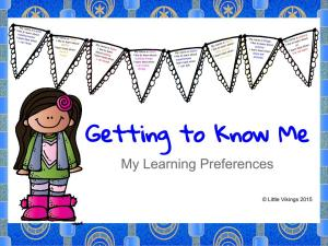 Getting to know me learning edition